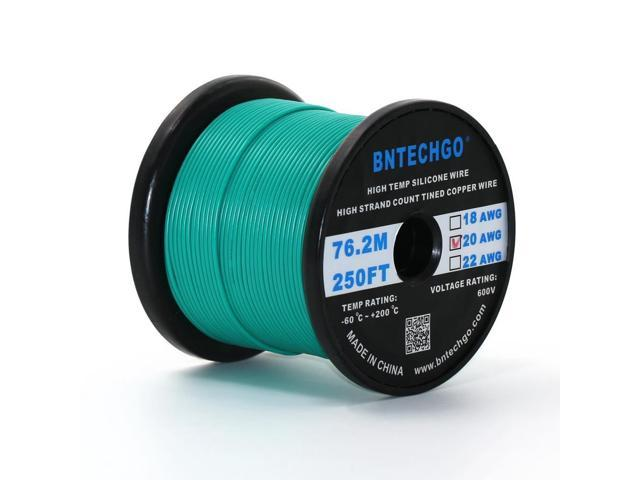 BNTECHGO® 20 Gauge Silicone Wire 250 Feet Green Spool Soft and ...