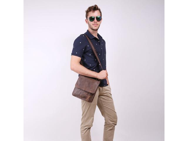9e8b35b3bee Leathario Retro Leather Messenger Bag Shoulder Bag Crossbody Bag Satchel Bag  for Men