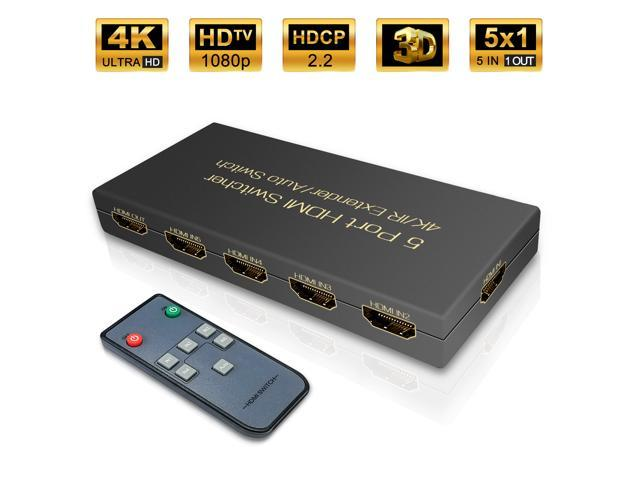 5 ports HDMI Switch, VIPFAN 5 in 1 out HDMI Switch Box with IR Wireless  Remote HDMI 1 4, HDCP 2 2, UHD, CEC, HDR HDMI Switcher 5x1 Supports Full  HD,