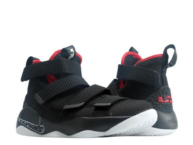 559be5cd341c Nike Lebron Soldier XI (GS) Black Wht-Red Big Kids Basketball Shoes ...