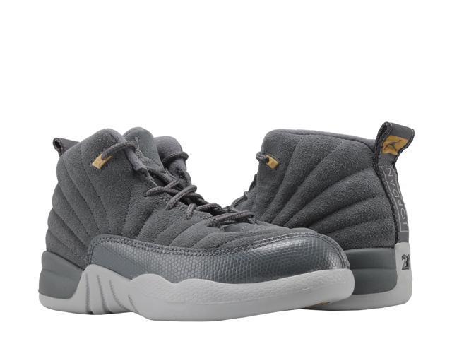 f1235e101e30 Nike Jordan 12 Retro BP Dark Grey Wolf Little Kids Basketball Shoes 151186- 005