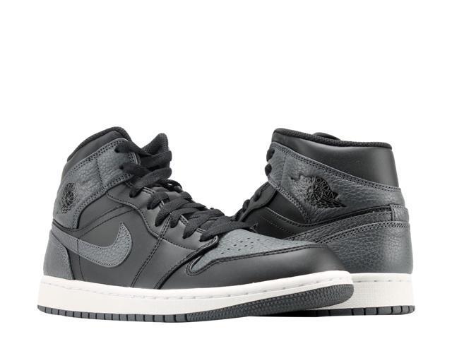 2cf7a14526c Nike Air Jordan 1 Mid Black Dark Grey-White Men s Basketball Shoes 554724-