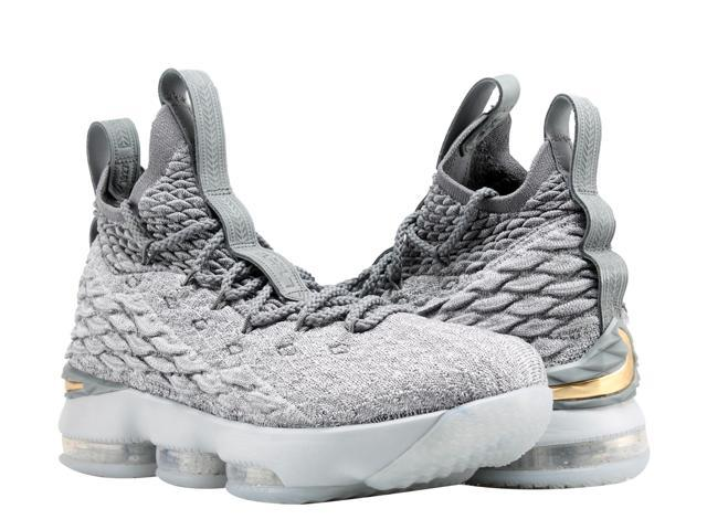 1e90207660235 Nike Lebron XV (GS) 15 Wolf Grey Gold Big Kids Basketball Shoes 922811