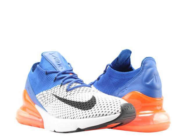 Nike Air Max 270 Flyknit White/Blk-Racer Blue Men's Lifestyle Shoes AO1023-101 Size 8.5