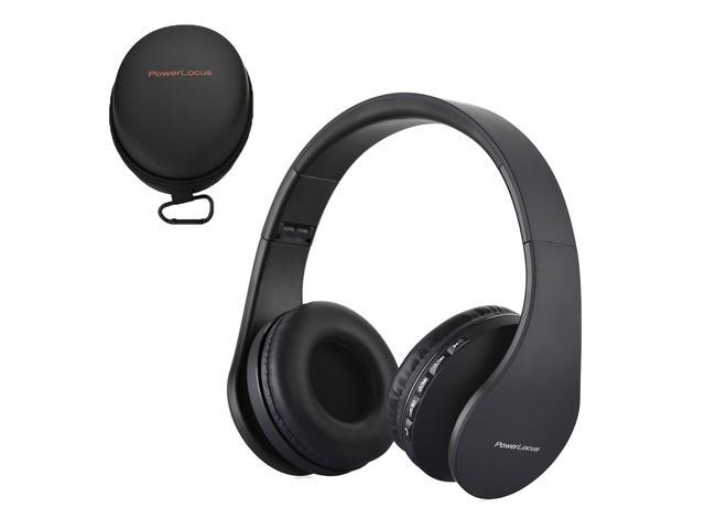 PowerLocus Bluetooth Over Ear Wireless Headphones Foldable FM, Micro SD/TF  Aux mode Built-in Mic for iPhone, iPad, Android, PC, Mac (Black) -