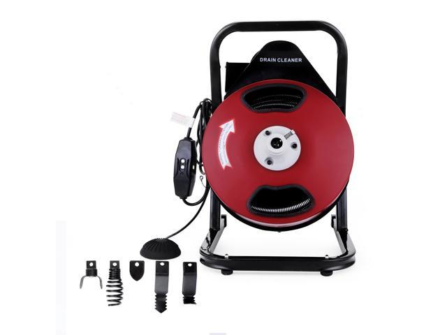 VEVOR Sewer Snake Drill Drain Auger Cleaner 50FT Long 1/2'' Wide Electric  Drain Cleaning Machine 4 Cutter & Foot Switch Drain Cleaner Drum Auger  Snake
