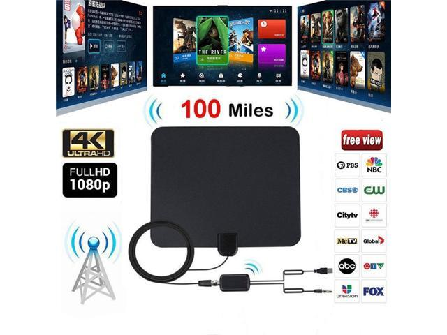 100 Long Miles Amplified HD Digital TV Antenna Support 4K 1080p for Indoor  with Powerful HDTV Amplifier Signal Booster - Newegg com