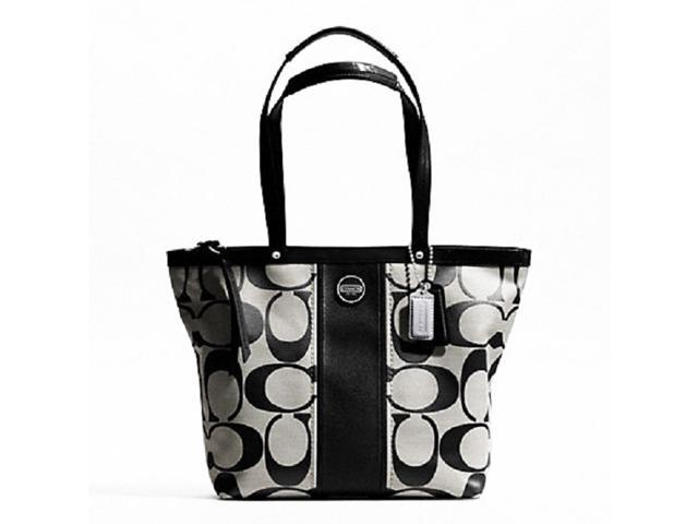 7d01351096c Coach: Signature Print Stripe Women's Handbag Tote Purse Black - Newegg.ca