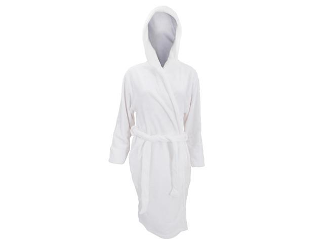 Womens /Ladies Supersoft Plain White Hooded Dressing Gown /Robe ...