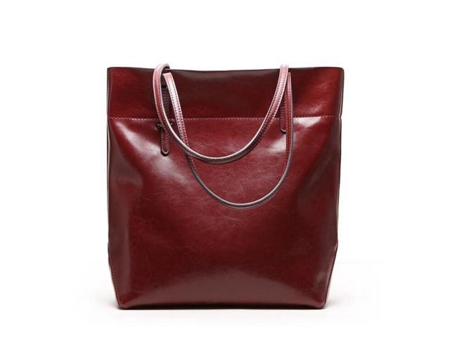 cc61e6bfeb0c Women s Handbag Genuine Leather Tote Shoulder Bags Soft Hot - Wine red