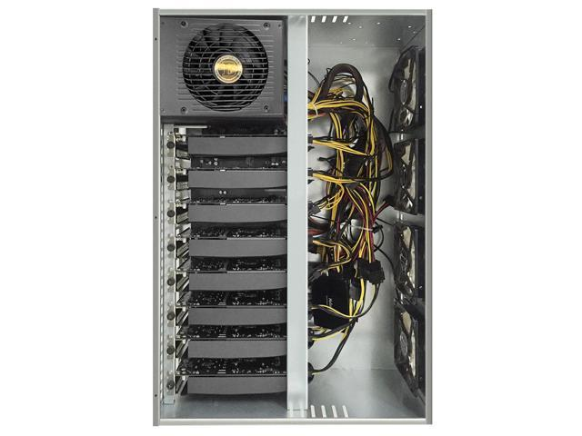 Aluminum 8 GPU Miner Case Prebuilt Stackable Crypto Mining Rig with 4  Cooling Fans Pre-Installed 1800W Dedicated Power Supply 8 Graphic Cards of  8G