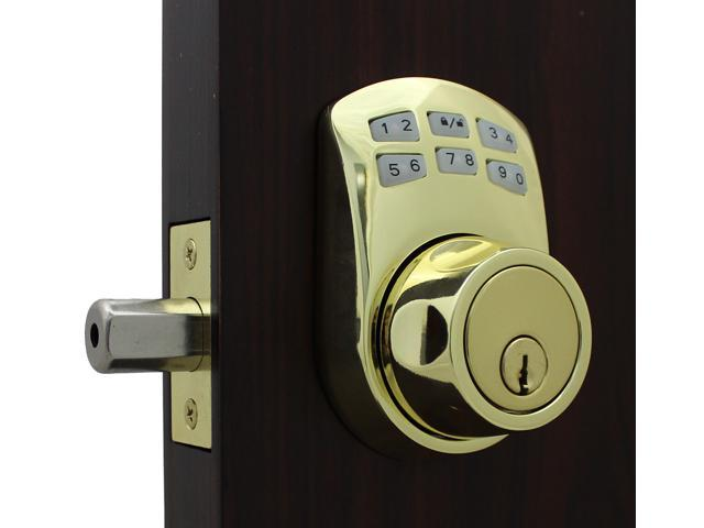 LockeyUSA Slim Line 910 Keyless Entry Combination, Digital Door Lock,  Manual Drive Electronic Deadbolt, Bright Brass - Newegg com