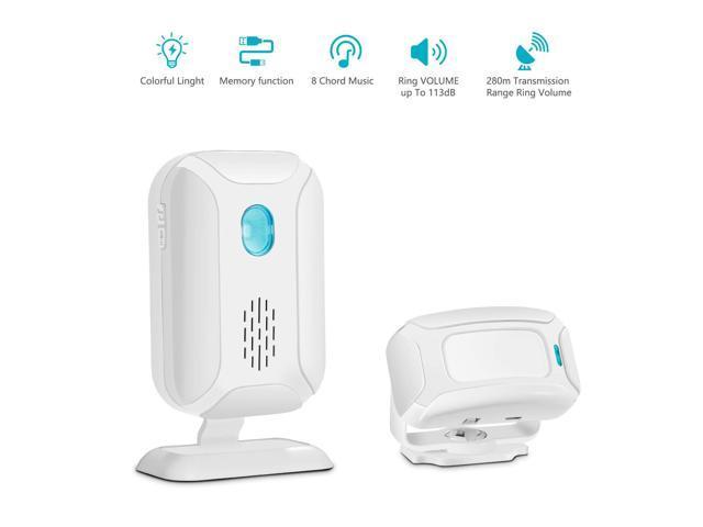 GREENCYCLE 1 Set (1 Sensor,1 Alarm) Muti-function Wireless Welcome Warning  Greeting Doorbell PIR Motion Detector Sensor Visitor Alarm Chime Door Bell