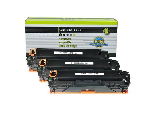 GREENCYCLE CF211A CF212A CF213A 131A Cyan Yellow Magenta Toner Cartridge Set Compatible for HP Pro 200