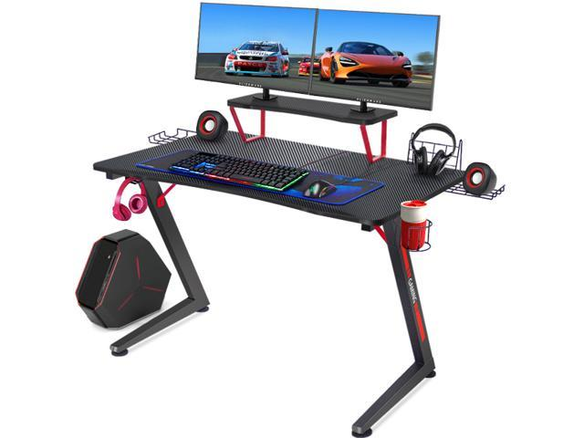 GTRACING Gaming Desk Computer Office PC Gamer Table Pro Racing Style Professional Game Station Z-Shaped with Gaming ...