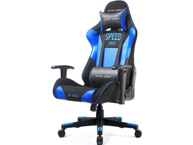 GTRACING PU Office Chair Racing Chair Backrest and Seat Height Adjustment Computer Chair With Pillows Racing Recliner Racing Swivel Rocker Tilt E-sports Chair