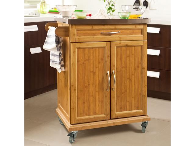 Haotian Fkw13 N Wood Kitchen Cabinet Storage Trolley Cart