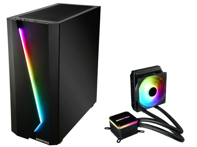 [BUNDLE] Enermax MAKASHI Addressable RGB Strip E-ATX Full Tower Gaming ARGB PC Case 1x120mm Fan Pre-Installed WITH LIQMAX III 120 ARGB AIO Liquid CPU Cooler; ECA-MK50+ELC-LMT120-ARGB