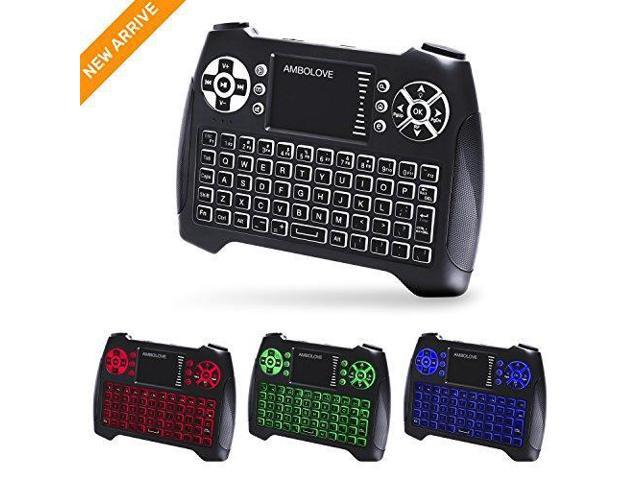 (Updated 2018, 3-Color RGB) Backlit Wireless Mini Keyboard with Touchpad  Mouse and Multimedia Keys, 2 4Ghz USB Rechargable Handheld Remote Control