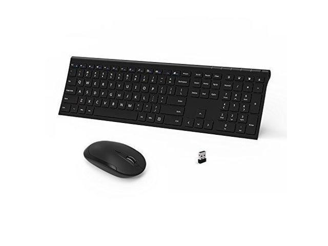 Wireless Keyboard and Mouse, Vive Comb 2.4GHz Rechargeable Compact Whisper- quiet Full-