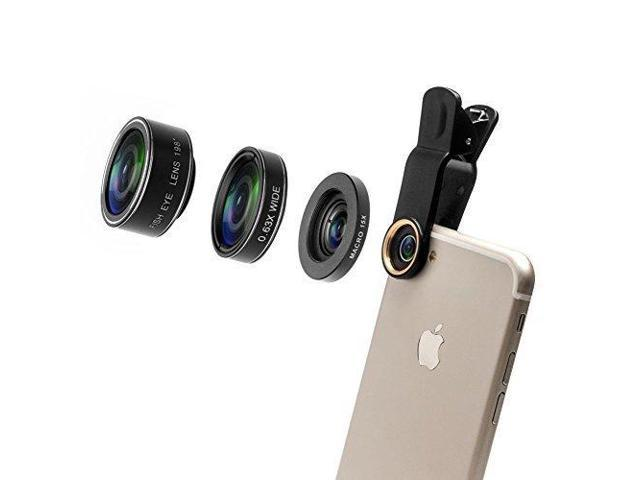watch d9afd e164e Godefa 3 in 1 HD Camera Lens Kit, 0.63X Super Wide Angle Lens & 15X Macro  Lens & 198 Degree Fisheye Lens, Clip on Cell Phone Lens for iPhone 8, 7  Plus ...