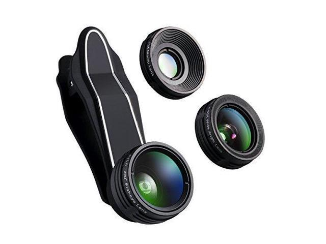 another chance d2419 b5f5f AZER Camera Lens Kit 3 in 1 with 230 Degree Fisheye Lens & 15X Super Macro  Lens & 0.65X Wide Angle Lens (Attached Together), for iPhone 8, 7, 6s, & ...