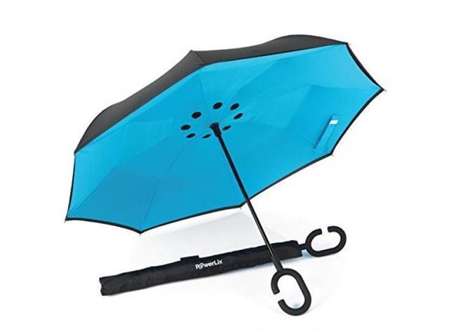 Home Double Layer Inverted Reverse Folding Umbrella For Womens Mens Windproof Rain Anti-uv Reverse C Handle Umbrella Self Stand Volume Large