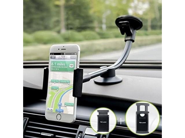 huge discount e2331 fddf0 Car Mount, 2 Clamps Long Arm Universal Windshield Dashboard Car Phone Mount  Holder Cradle for iphone 7 Plus 6 6s Plus, Samsung Galaxy S7 S6 Edge, HTC,  ...