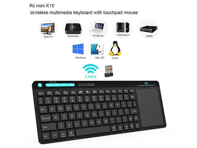 387ff15383c Rii RT518 Wireless Keyboard with Touchpad For HTPC Raspberry Pi 2 3 KODI PC