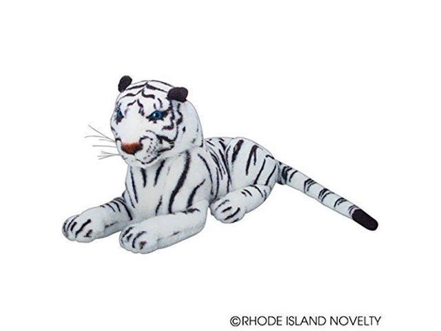 One Realistic Stuffed Animal Plush White Tiger In Laying Position