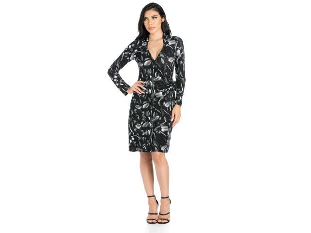 6cefb35155 24seven Comfort Apparel White On Black Floral Long Sleeve Wrap Dress