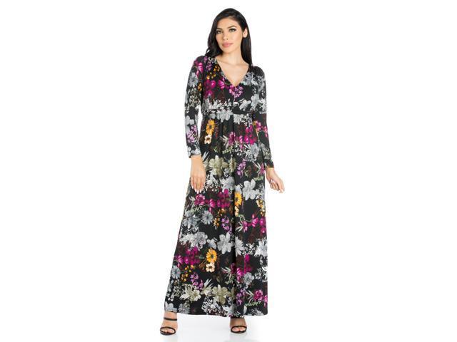 6e69504c5f30 24seven Comfort Apparel Regal Blooms Floral Long Sleeve Maxi Dress