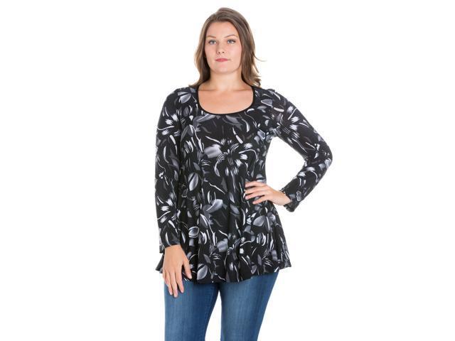 1cbfb6ed5e412b 24seven Comfort Apparel Floral Long Sleeve Plus Size Tunic Top ...
