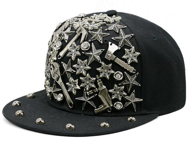 221c6184575 AnKoee Unisex Rivets Hat Men Womens Punk Rock Snapback Hat Hip Hop Hats  Flat Cap
