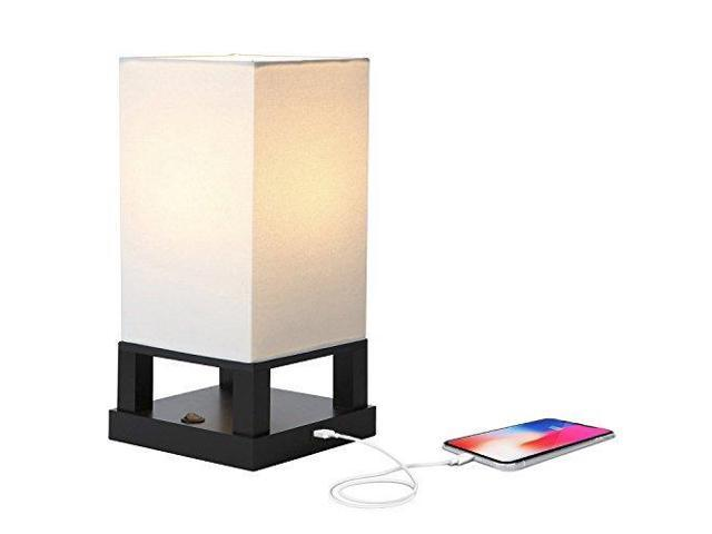 Brightech Maxwell LED USB Side Table U0026 Desk Lamp U2013 Modern Asian Style Lamp  With Wood Frame ...