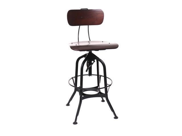 Tremendous Toledo Walnut Black Adjustable High Back Bar Chair 25 29 Inch Newegg Com Short Links Chair Design For Home Short Linksinfo