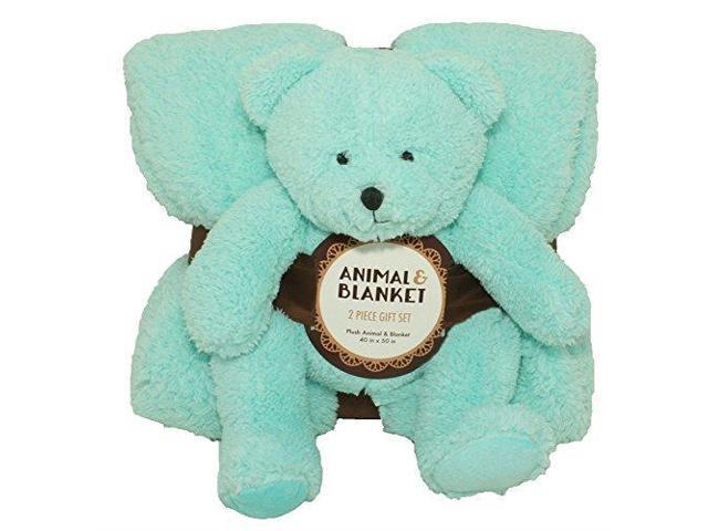 Silver One Sherpa Plush Stuffed Animal And Throw Blanket 2 Peice