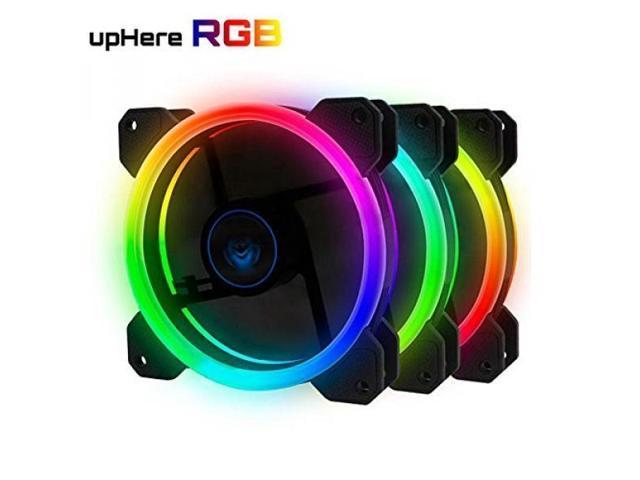 upHere 3-Pack Wireless RGB LED 120mm Case Fan,Quiet Edition High Airflow  Adjustable Color LED Case Fan for PC Cases, CPU Coolers,Radiators system -