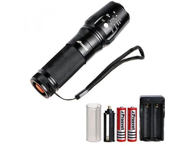 Prosvet 878 CREE XML T6 LED 1200 Lumens Portable Zoomable Tactical  Flashlight - Rechargeable 18650 Batteries and Dual Charger Included -  Adjustable