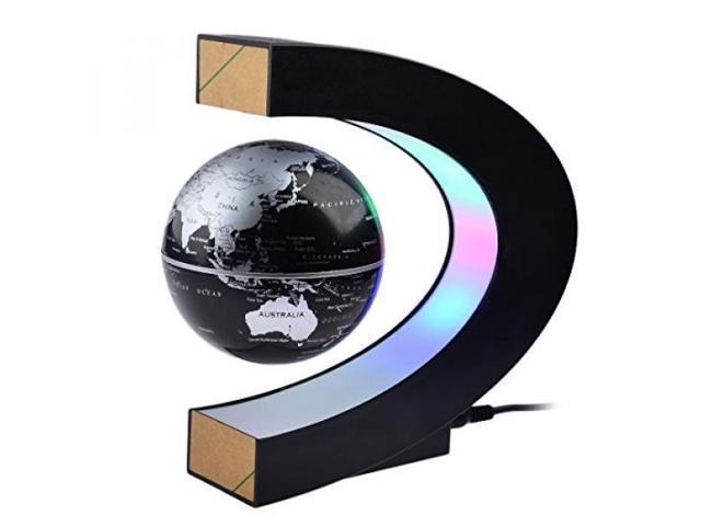 Magnetic Levitation,Petforu High Rotation C Shape Magnetic Suspension  Maglev Levitation Globe With LED Lights