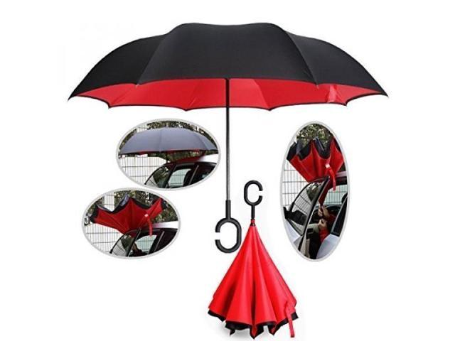 Ylyycc New Double Layer Inverted Umbrella Straight Rod Waterproof Windproof Uv Protection Rainy Sunny