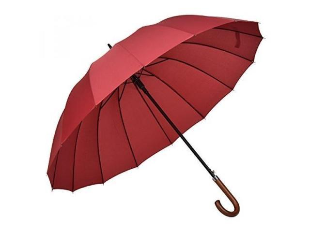 40af34c2ad6b Atree 55 Inch Classic Auto Open J Handle Golf Umbrella Parasol Stick  Umbrella with 16 Ribs, Durable and Strong Enough-Red - Newegg.com