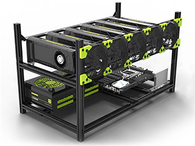 6 GPU Stackable Preassemble Mining Case Rig Aluminum Open Air Frame For Ethereum(ETH)/ETC/ZCash/Monero/BTC Easy Mounting Edition