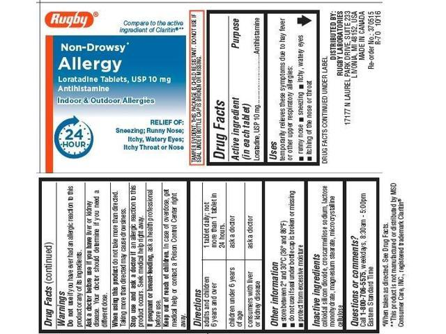 Rugby Non-Drowsy Allergy Tablets, 10mg, 100ct 305361092016A729 - Newegg com