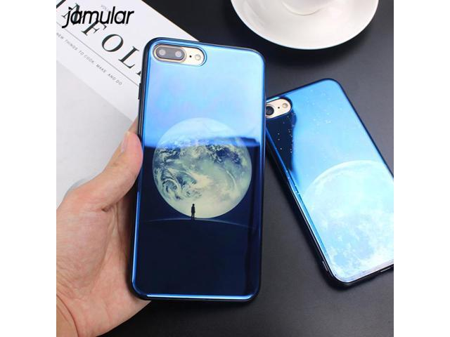 quality design 74ee3 44cf0 JAMULAR Electroplate Blue Light Soft Phone Cover for iPhone X 6 6s 7 8 Moon  Planet Space Silicone Case for iPhone 6 6s 7 8 Plus - Newegg.com