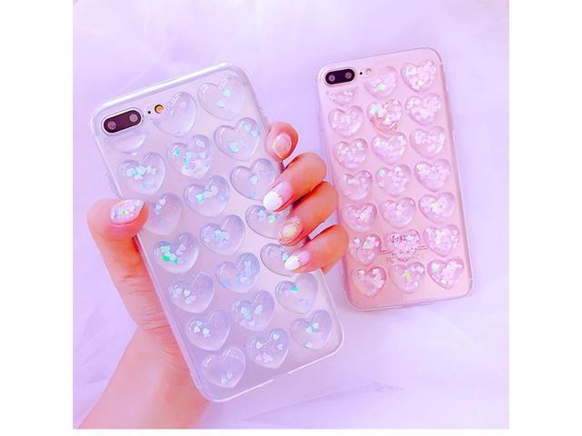 c854fd91f Case For iPhone X 8 Plus 6 6S Plus 7 Plus Cover Korean 3D Love Heart Clear  Soft TPU Glitter Sequin Case For Samsung S8 Plus Case