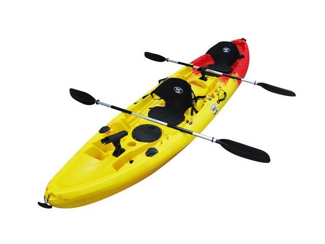 Bkc Uh Tk219 12 Foot 2 Inch Tandem Sit On Top Kayak 2 Or 3 Person With 2 Paddles 2 Seats And 6 Fishing Rod Holders Included