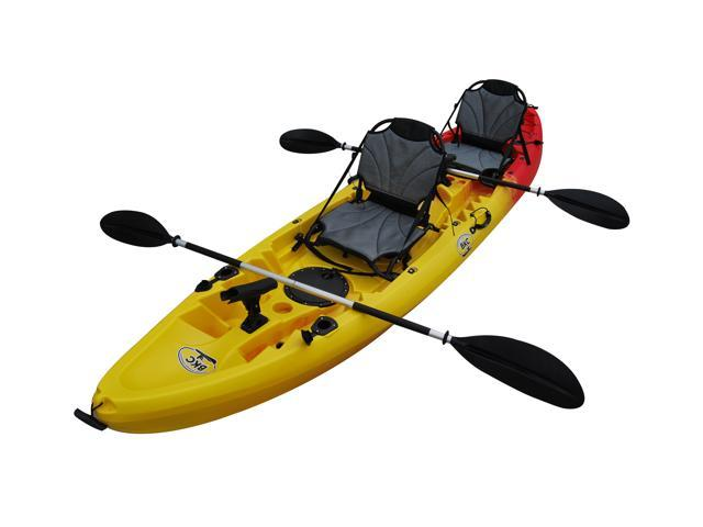 Bkc Uh Tk219 Us 12 Foot 2 Inch Tandem Sit On Top Kayak 2 3 Person 2 Paddles 2 Upright Seats And 6 Fishing Rod Holders Included
