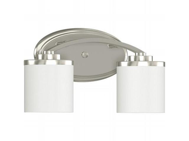 Monument Lighting 617091 Decorative 4 Light Vanity Fixture: 2-LIGHT VANITY LIGHTING BRUSHED NICKEL 14 X 5-5/8 X 8 IN