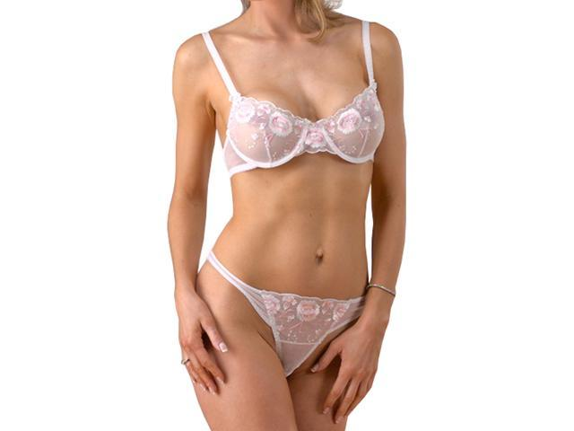 e88825efb See Thru White Sheer Underwire Bra   Thong Panty Knickers w Floral  Embroidery 32-